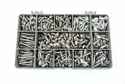 Box of 325 Assorted Flange Pozi Pan Self Tapping Screws. A2-70 Stainless Steel