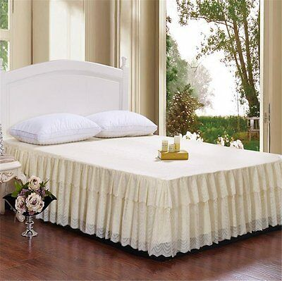 Bed-Skirt Dust Ruffle Polyester Lace Beige Oversized King 17 Inch Drop