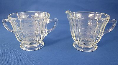 Federal / Indiana Clear Madrid Depression Glass Pattern - Cream and Sugar