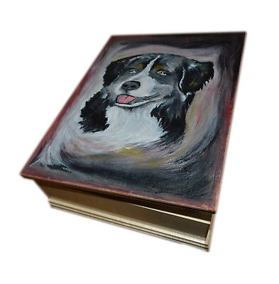Unique Custom Wood Casket Memorial Urn for Dog's ashesHand painted Pet urn Dog