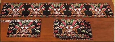 Thanksgiving Theme Turkey Tapestry Table Linens 5 pc Set