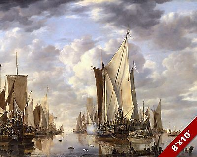 Dutch Sailing Ships Salute Scenic Seascape Art Painting Real Canvas Print