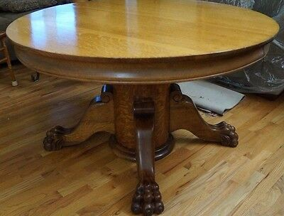 "BEAUTIFUL ANTIQUE 48"" TIGER OAK ROUND KITCHEN TABLE circa 1899"