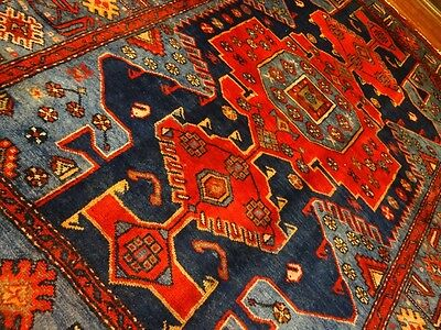 "C 1940 Taroon Kurdish Antique Persian Exquisite Hand Made Rug 4' 5"" x 6'"