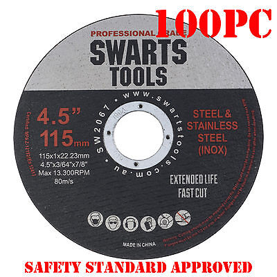 "100 x 4.5"" 115MM CUTTING DISC WHEEL THIN ANGLE GRINDER CUT OFF METAL STEEL FLAP"