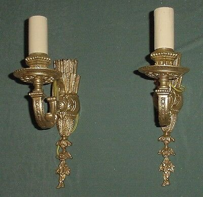Antique Pair Gilt Bronze Wall Sconces Arrows Empire Style Wired France 12.50""