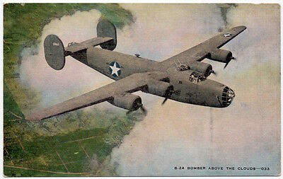 Linen Postcard Consolidated B-24 Liberator Heavy Bomber Airplane~107585