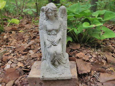 "Vintage 13 1/2"" Tall Cement Girl Angel Cherub Garden Weathered Concrete Statue"