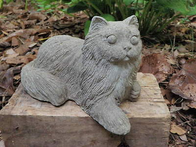 """Vtg 9 1/2"""" Long Cement Lying Cat w/Paw Stretched Out Concrete Garden Art Statue"""