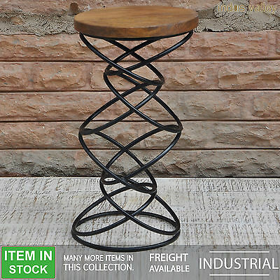 Solid wood industrial metal iron kitchen bar stool dining cafe high chair seat