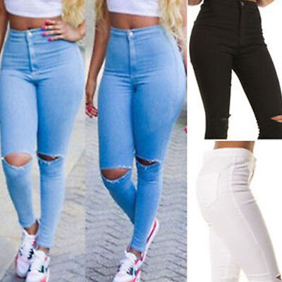 Womens Destroyed Ripped Denim Skinny Jeans Look Distressed Long Trousers Pants