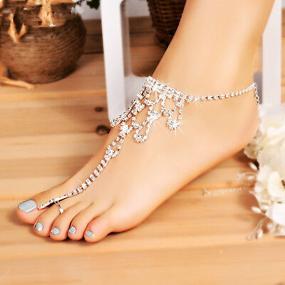 Beach Wedding Crystal Barefoot Sandals New Women Foot Anklet Casual Hollow out