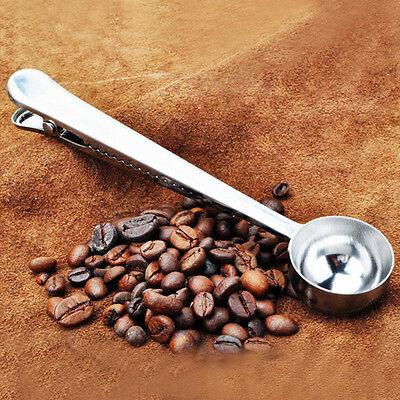 Stainless Steel Ground Coffee Measuring Scoop Spoon With Bag Seal Clip