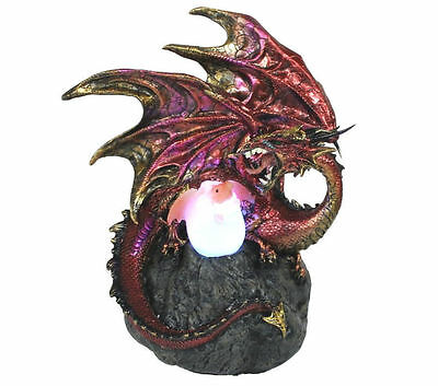 Dragon Egg Hatching Ornament Statue Sculpture Figurine Light LED Lamp Red 2686