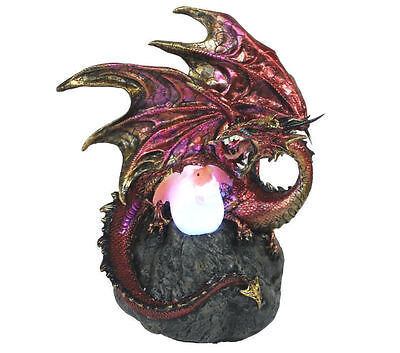 Dragon Egg Hatching Ornament Statue Sculpture Figurine Light LED Lamp Red