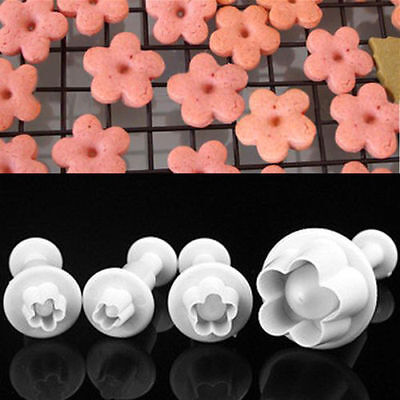 4 pcs Plum Flower Icing Cutter Fondant Cake Sugarcraft Decor Plunger Mould Tools
