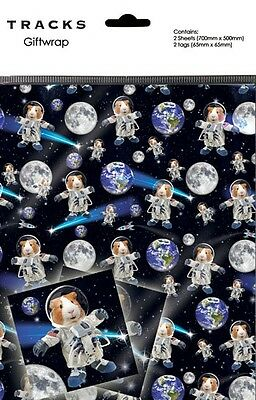 Gift Wrap Present Wrapping Paper Funny Guinea Pigs In Space With Matching Tags