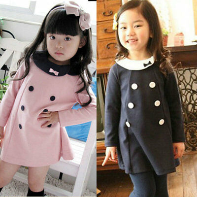 Lovely Baby Children Clothes Girls Kids Long Sleeve Skirt Dress Coat Party 2-7Y