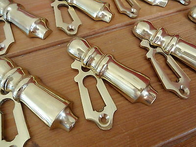 10 X Brass Door Escutcheons Key Hole Cover Plates