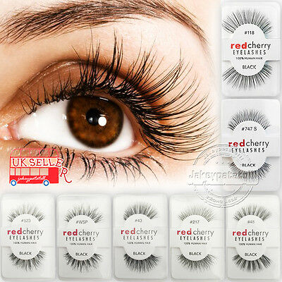 Lashes-Red Cherry False Human Hair Eyelashes Makeup 100% Natural Eye Adhesives