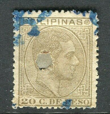 PHILIPPINES; 1881-2 early classic Alfonso issue fine used 20c. value