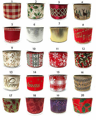 Gisela Graham Wide Snowflakes & Christmas Ribbon Gift Wrapping Ribbons 3 Metres