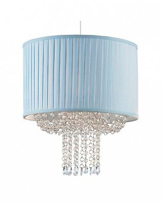 Pastel Blue Fabric Pleated Shade with Acrylic Jewels Easy Fit Ceiling Shade NEW