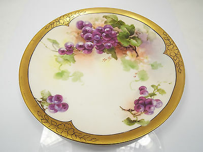 Antique Hand Painted Limoges Grapes & Leaves Heavy Gold Rim Plate, Signed