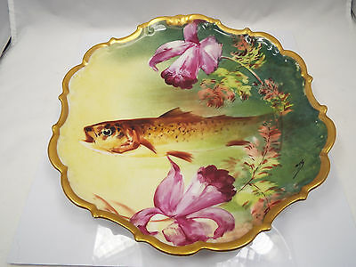 """Antique Hand Painted Flambeau Limoges Fish & Flower Plate w/ Gold Rim, 10 5/8"""""""