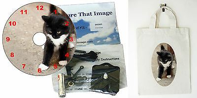 DIY CD Clock KIT. Black & White Kitten, in small canvas gift bag with Cat Motif