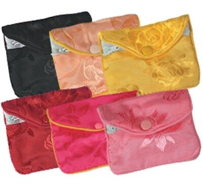 12 PCS Small Fancy Chinese Jewelry Pouches (ASSORTED COLORS)