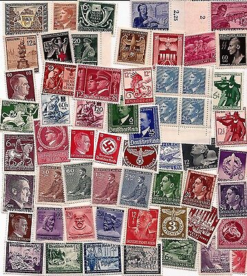 WW2 Third 3rd Reich and Naxi B&M Germany Adolf Hitler stamps SA + SS etc MNH