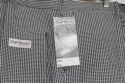 CHEF WORKS PANTS BLACK WHITE CHECKED HOUNDSTOOTH 48x34 TALL NEW NWT BELT LOOPS