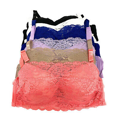 Camisole Pack Lot Wired Front Cover Lace Full Cup Soft Padded A/B/C Cami Bra