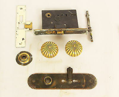 c 1910 Vintage Brass Frolnt Door Lockset With Beautiful Brass Handles And Face
