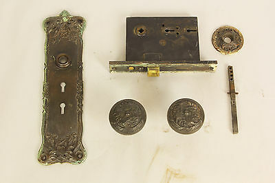 "Antique Victorian Front Door Lockset With 10.5"" Faceplate Brass With Patina"