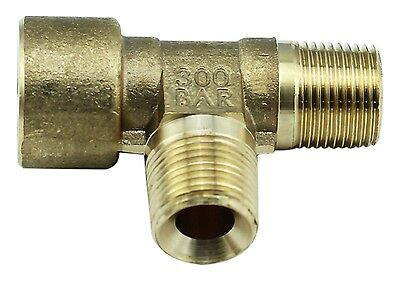 "Brass Tee Fitting 3/8"" Male x 3/8"" Male x 1/4"" BSP Female - 4350PSI – Tapered"