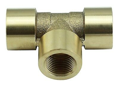 "Brass Tee Fitting 3/8"" Female x 3/8"" Female x 3/8"" BSP Female 4350PSI (Box of 5)"