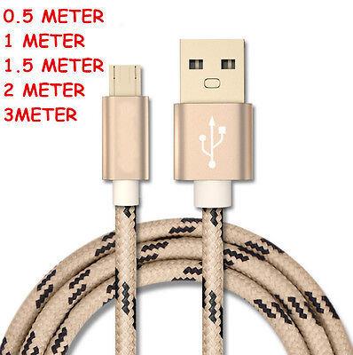 Braided Aluminum Micro USB Data&Sync Charger Cable For Samsung Galaxy S6 S7 Edge