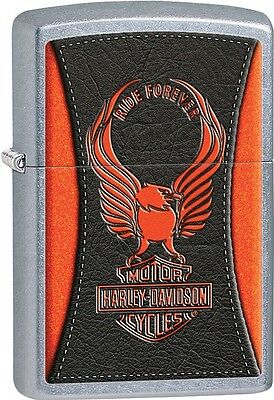 "Zippo 2015 Catalog HD Harley Davidson Orange Eagle ""Ride Forever"" Lighter 28823"