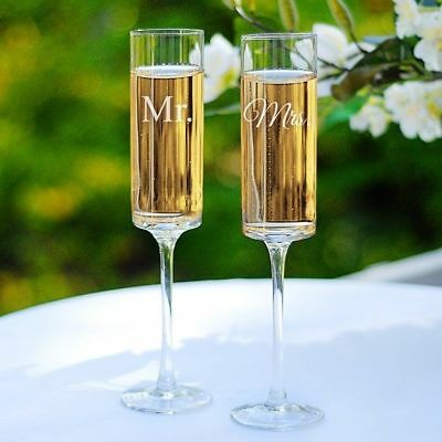 A Pair Mr and Mrs Toasting Flutes Contemporary Champagne Flutes Set of 2