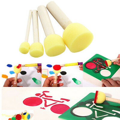 4 Pcs/set Wooden Handle DIY Kids New Sponge Brush Doodle Painting Education Hot