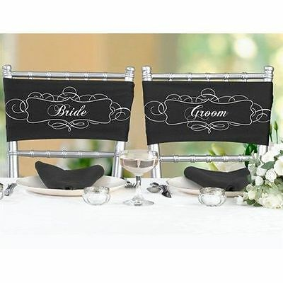 Satin Chair Sash for Bride and Groom A Pair Wedding Reception Decorations
