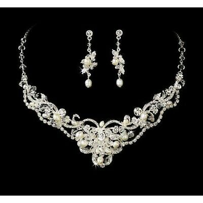 Freshwater Pearl Rhinestone Bridal Necklace and Earring Set Bridal Jewelry Set