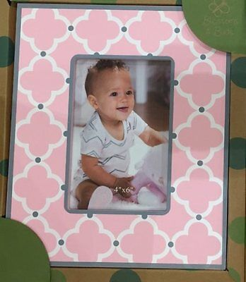 "Carte Blanche Blossom & Buds Wooden Pink Baby Photo Frame - Geometric 4x6"" Decor"