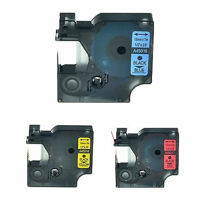 """3PK 45016 45017 45018 Label Tape for DYMO D1 Labelmanager 400 Printer 12mm 1/2"""""""