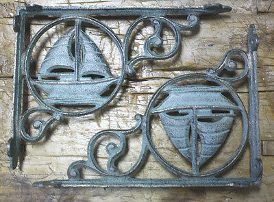 2 Cast Iron NAUTICAL SAILBOAT Brackets Garden Braces Shelf Bracket PIRATES SHIP