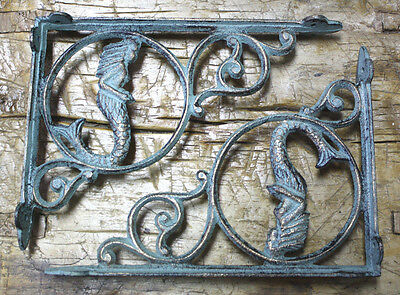 4 Cast Iron NAUTICAL MERMAID Brackets Garden Braces Shelf Bracket PIRATES SHIP
