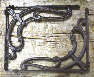 2 Cast Iron Antique Style VICTORIAN SCROLL Brackets Garden Braces Shelf Bracket