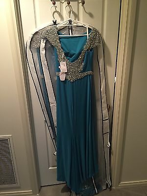 Teal Bridesmaid Formal Evening Cocktail Dresses Sizes 8 & 12 Jersey Fabric